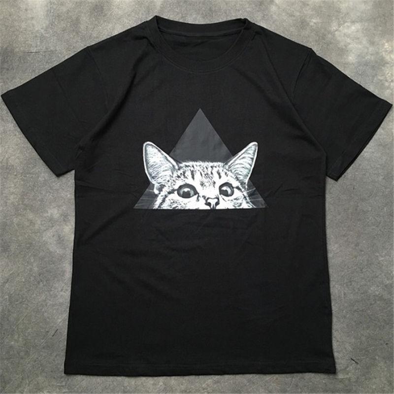 Уличная мода Мужская футболка 20SS котенок шаблон высокого качества Polos пуловер с коротким рукавом футболки Мужчины Женщины Пары Стилист Хип-хоп Tee