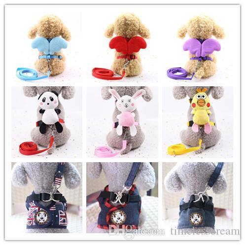 4 Größe Pet Dogs Kragen Brustgurte Weste mit Leinen Harness Pet Zugseil für Katzen Einstellbare S / M / L / XL