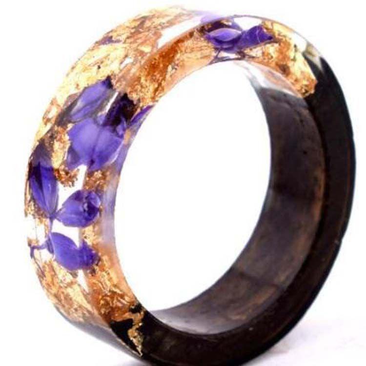 Nuevo diseño hecho a mano diy secreto novedad madera resina anillo flores plantas interior joyería anillo de madera aniversario