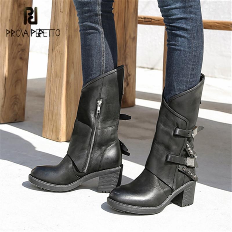 Prova Perfetto Negro mujeres botas de montar de cuero genuino mano de alta botas de goma para los zapatos de las mujeres Chunky de tacón alto Mujer Botas