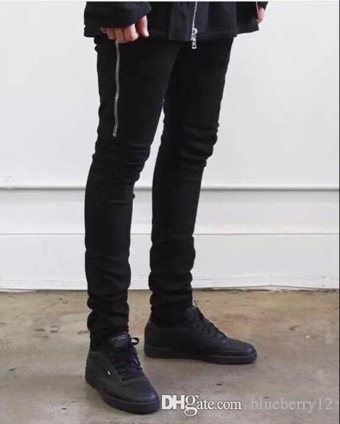 Hommes Jeans High Street Style de Washed Pantalon en denim avec décoration Zipper Crayon Jeans Biker moteur avec poches