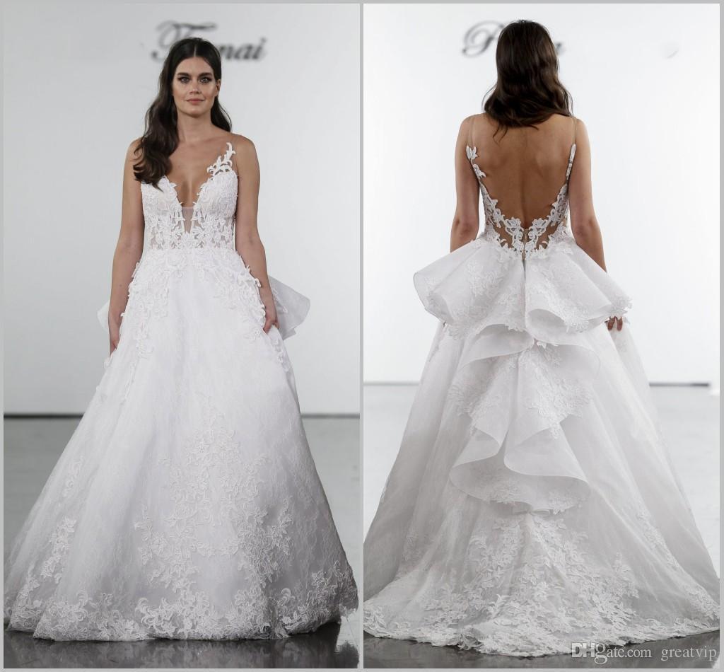 Pnina Tornai 2019 Wedding Dresses Sexy V Neck Lace Appliques Backless Ruffle Plus Size Beach Bridal Gowns Custom robe de mariée