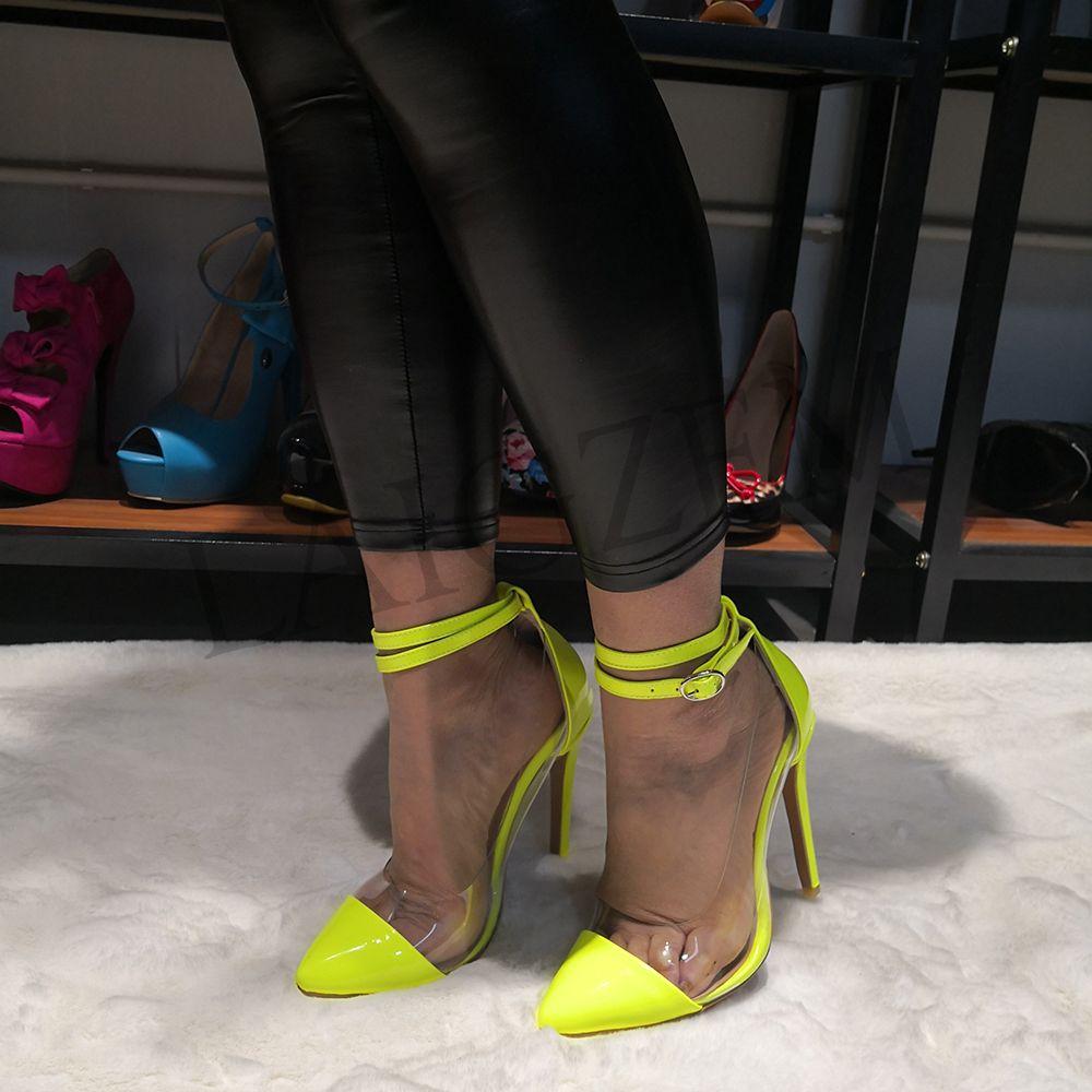LAIGZEM SEXY Tacones de mujer Punta puntiaguda del tobillo Correa del talón Bombas a prueba de agua zapatos de fiesta claros Mujer Zapatos Mujer Pequeño Tamaño grande 34-47