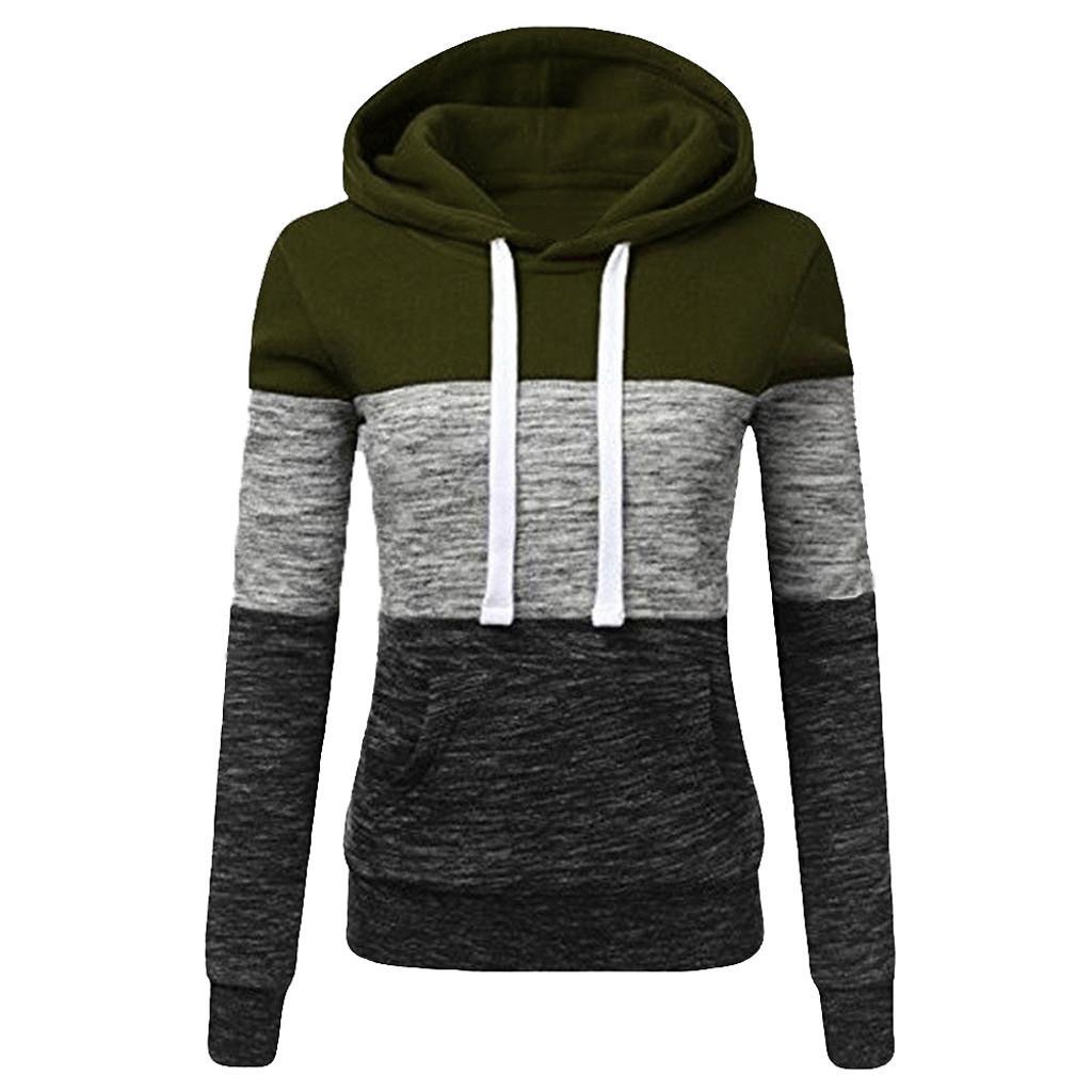 Kleidung Frauen Frühling und Winter-Frauen beiläufige Hoodie gestreiftes Langarm Schlank Sport Pullover