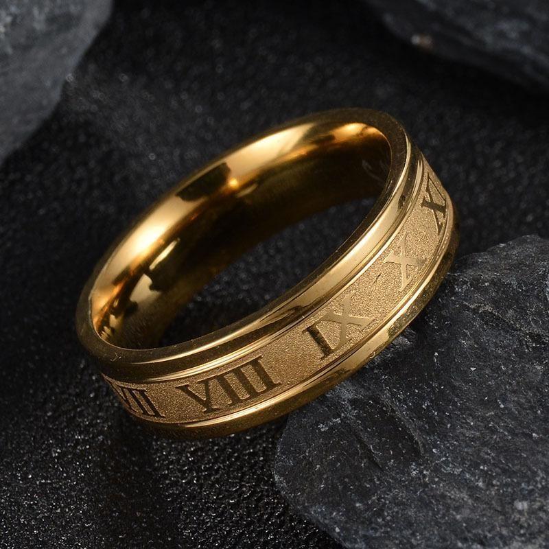 스테인레스 스틸 로마 숫자 링 문자 번호 남성 반지 여성 반지 골드 링 패션 보석 080523
