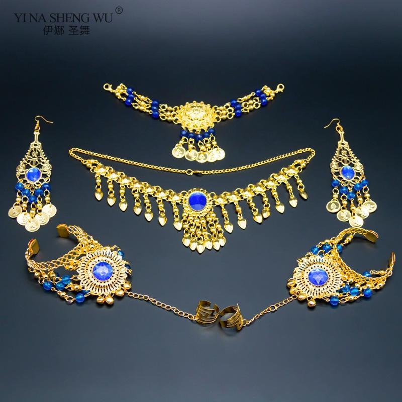 Belly Dancing Accessories Set Women Belly Dance Rhinestone Necklace Earrings Jewelry Set Dance Accessory Wholesale