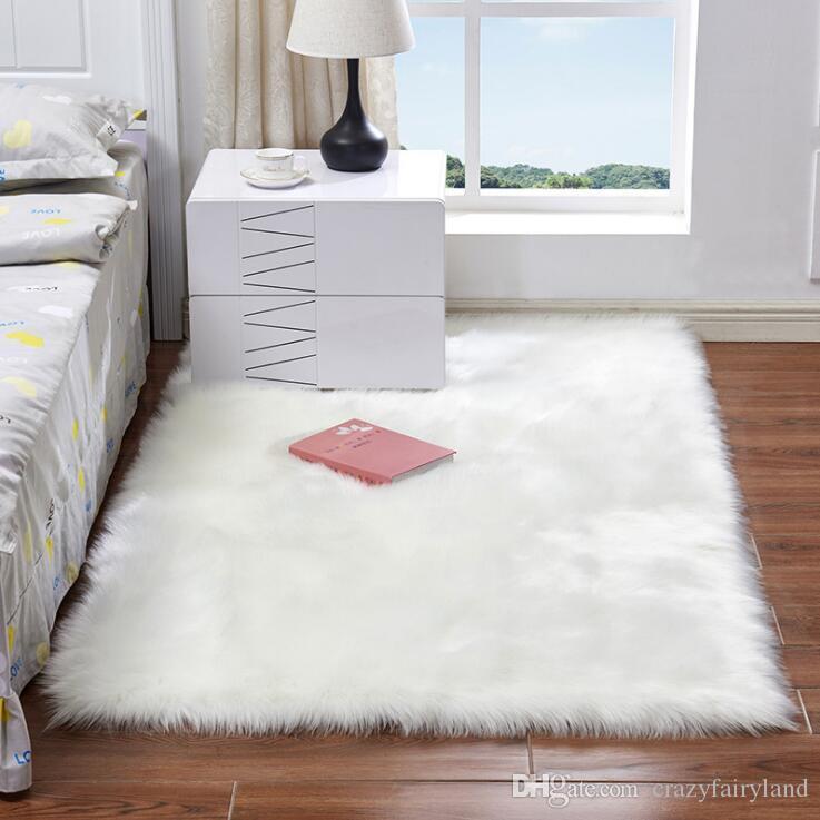 White Long Plush Carpets Living Room Bedroom Rug Antiskid Soft Carpet Modern Carpet Mat Child Bedroom Safe Mat 15 Sizes