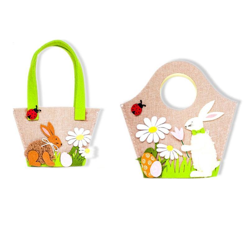 Easter Egg Rabbit Flower Handbag Cute Easter Decoration Party Supplies Kids Candy Egg Toy Gift Storage Bag Handbag Home Decor