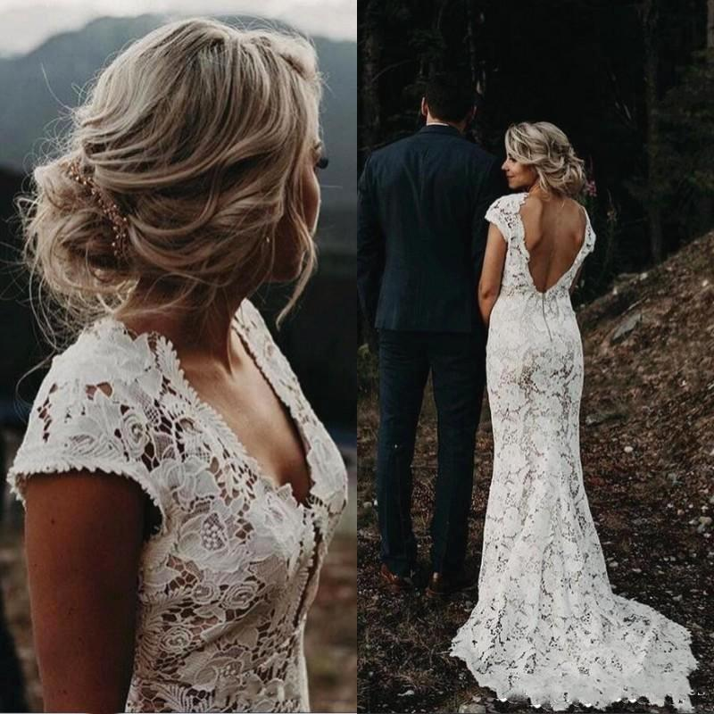 Country Mermaid Wedding Dresses with Dechable Train Vintage Full Lace Boho Bridal Gowns Deep V Neck Open Back Vestidos Short Sleeves