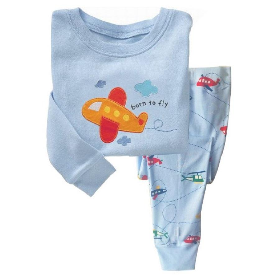 2018 Newest Baby Clothes Suits Pajamas For Boys Plane Fashion Kids Nightgown Sleepwear Clothing Sets 100% Cotton 2 3 4 5 6 7Year
