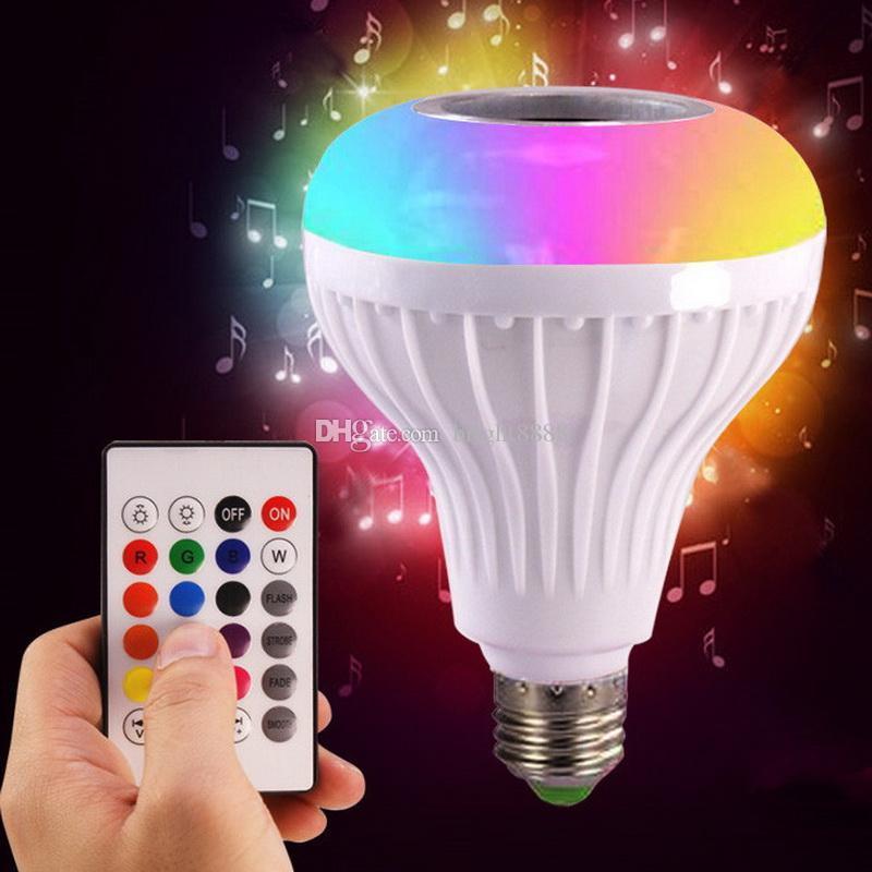 Akıllı bluetooth müzik ampul led yedi renk uzaktan kumanda ile bluetooth hoparlör ampul e27 kablosuz ses ampul lamba