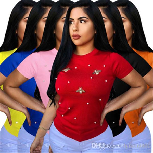 T-shirt d'été chaud pour femmes tops t-shirts nouveau décontracté manches courtes élastique perlé papillon décoration col rond grande taille vêtements féminins S-3XL