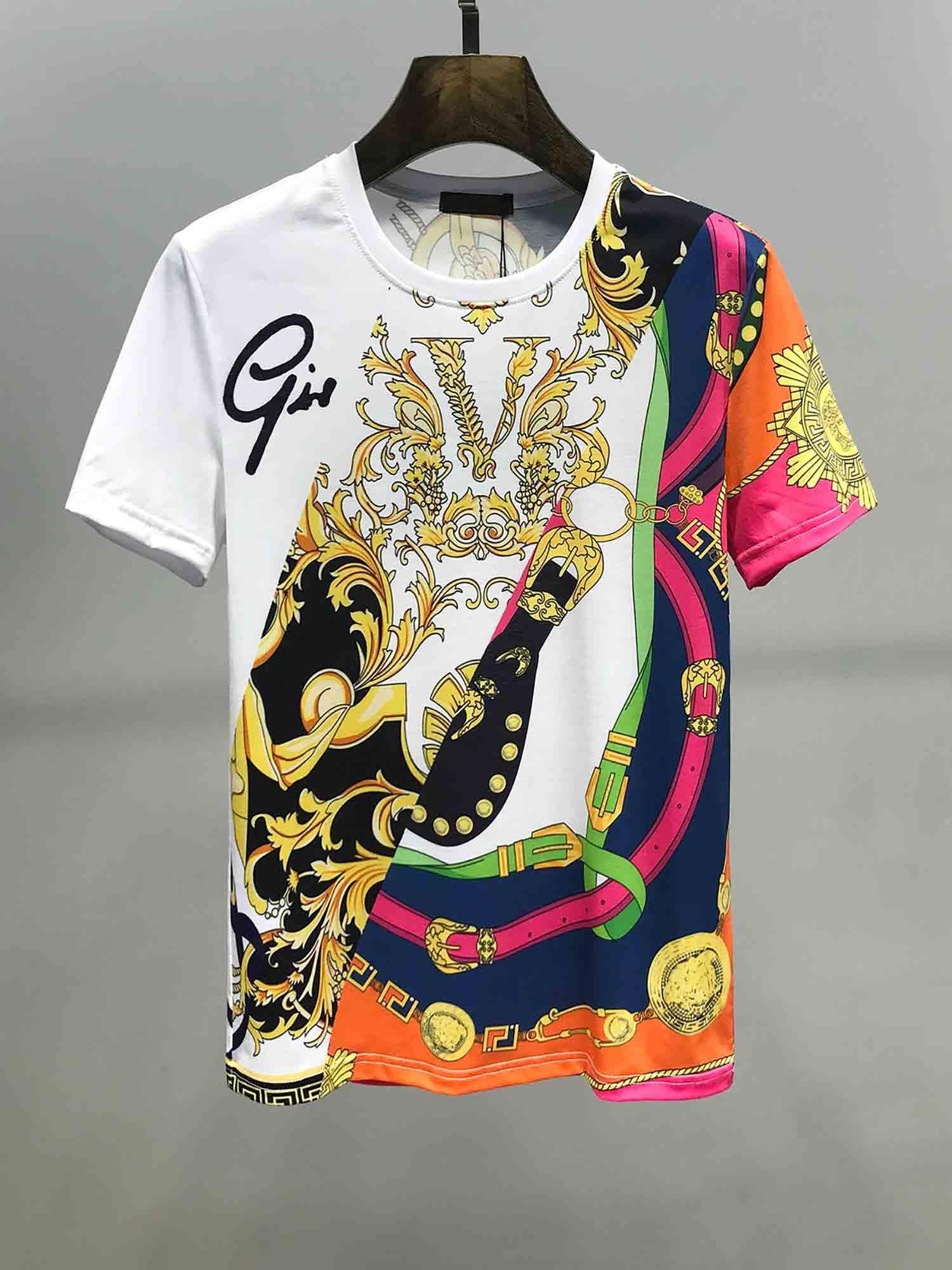 Camiseta de la ropa 2020 de los hombres de la moda europea y de alta gama de estilo americano impresión de manga corta de la marca de moda encima de la medusa