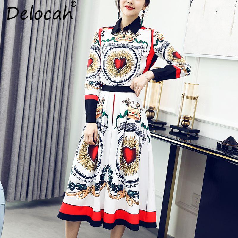 Delocah 2018 Otoño Mujeres escenógrafo cauce de la manera camiseta de la vendimia + delgado falda plisada de dos piezas Set Señora nuevos trajes