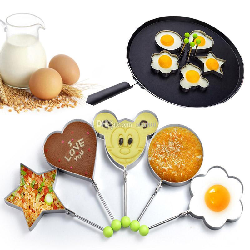 Molde de panqueque de acero inoxidable huevo frito molde de panqueque herramientas de cocina cocina Anillo de tallador de huevo frito molde de panqueque WX9-1313