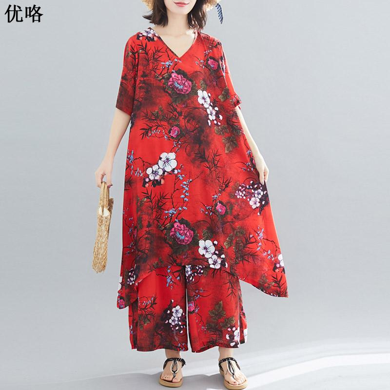 Moda de verano para mujer Conjuntos de 2 unidades 2019 Nuevo Talla grande Pantalones anchos y largos Vintage Print Elegante gasa Camisa larga Blusa