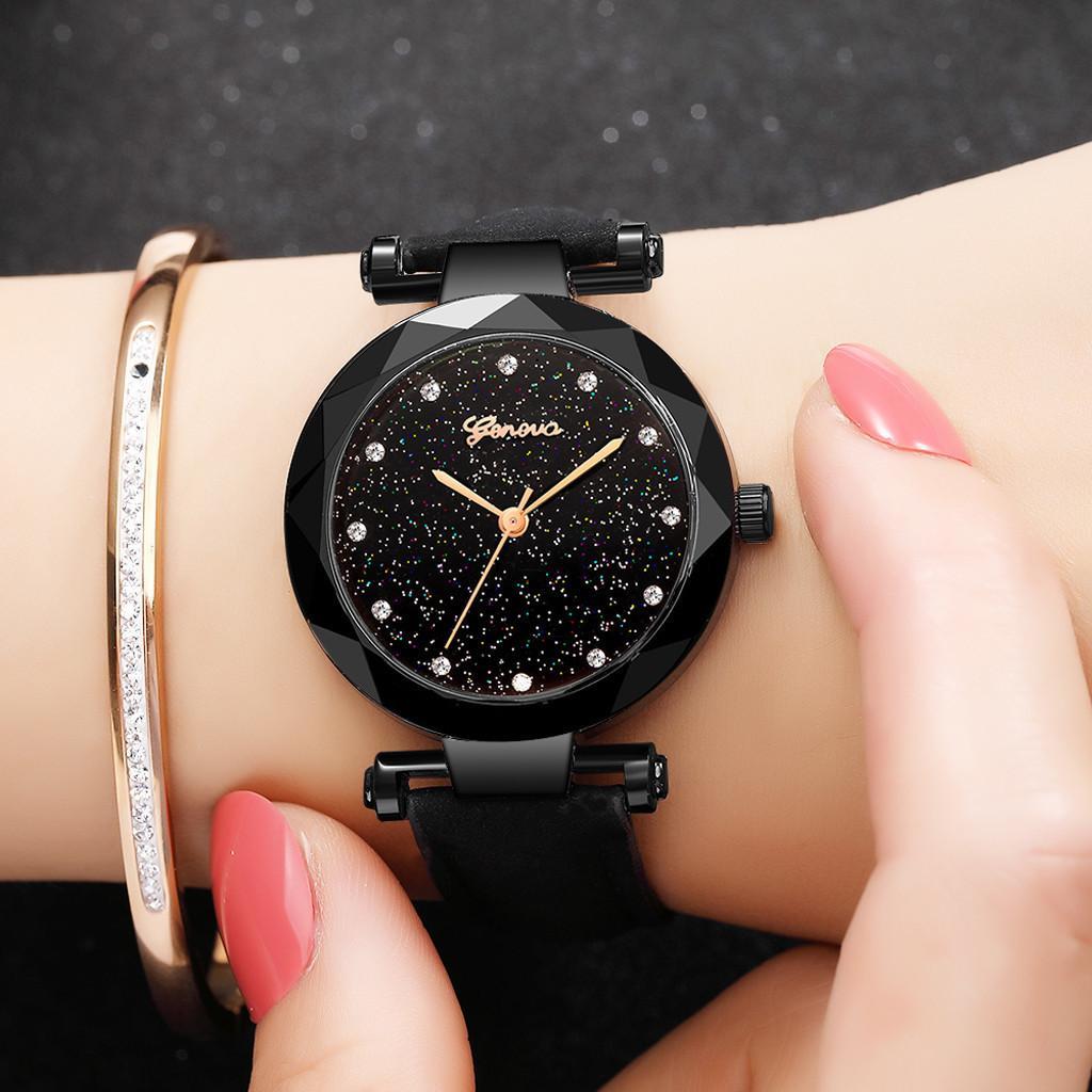 New Fashion Geneva Women Leather Band Stainless Steel Quartz Analog Wrist Watch Zegarek Damski Reloj Mujer
