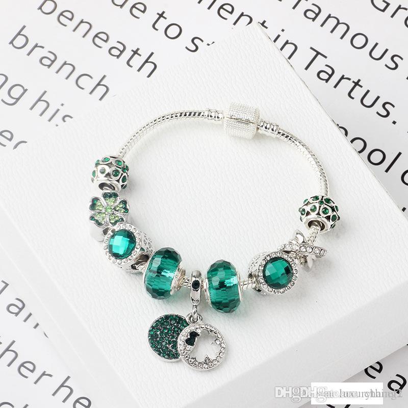 Nuevas pulseras estilo pandora 2019 forman a mujeres de color verde bosque natural de aleación brazalete de cuentas de cristal de circón pulsera DIY accesorios femeninos