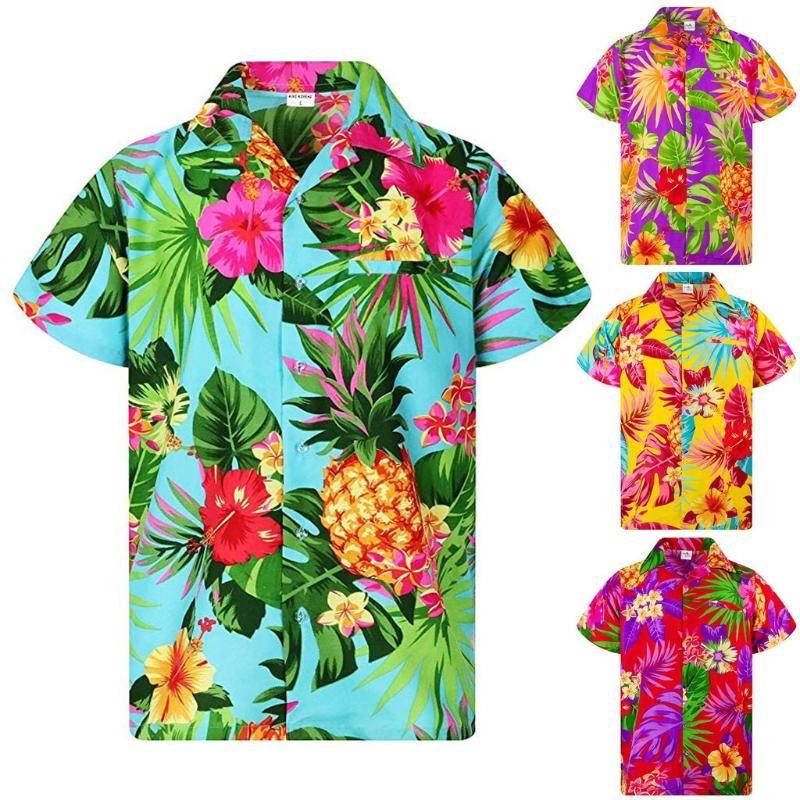 2020 neue Ankunfts-Druck-Marken-Hemd Mens-ethnische Art-Drucken-Kurzschluss-Hülsen-lose Knöpfe beiläufige Hemd-Bluse Hawaii-Tops