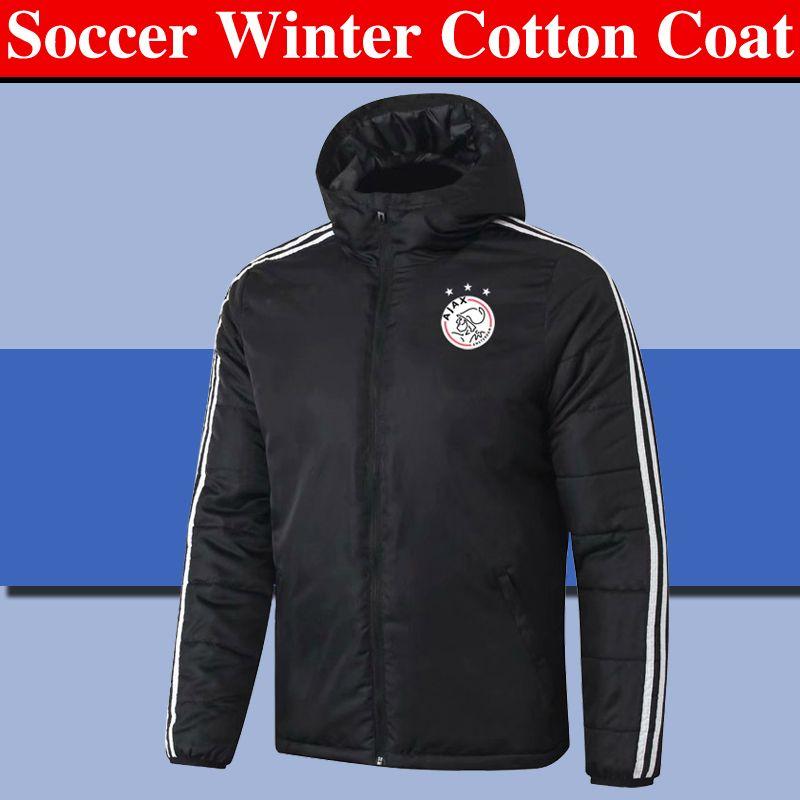2020 2021 ropa de abrigo cazadora de atletismo al aire libre de la capa de entrenamiento de fútbol Ajax de invierno chaqueta de abrigo de algodón con capucha de los hombres chaquetas de los hombres