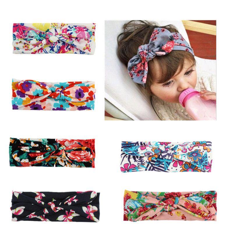 Baby Girls Hair Bands 7 Design Little Floral Headband Baby Bow-tie Headbands Kids Headwear Girls Hair Bands 06