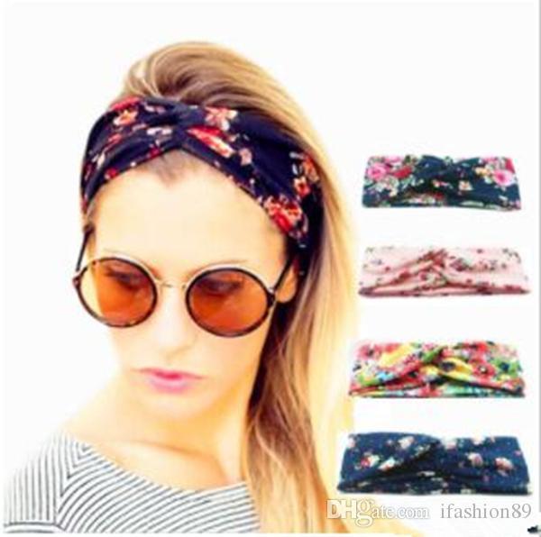 2019 Mulheres torção grife Turban Floral Prints Headband esporte estiramento Hairbands Yoga para meninas Headwrap Bandana Acessórios de cabelo Jóias