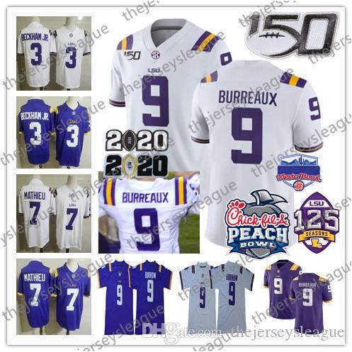 LSU Tigers # 9 Burreaux Joe Burrow 3 Beckham Jr. 7 Мати Фиолетовый белый 2020 Чемпион Peach Stath 150 125-й Сшитый Футбол NCAA Футбол