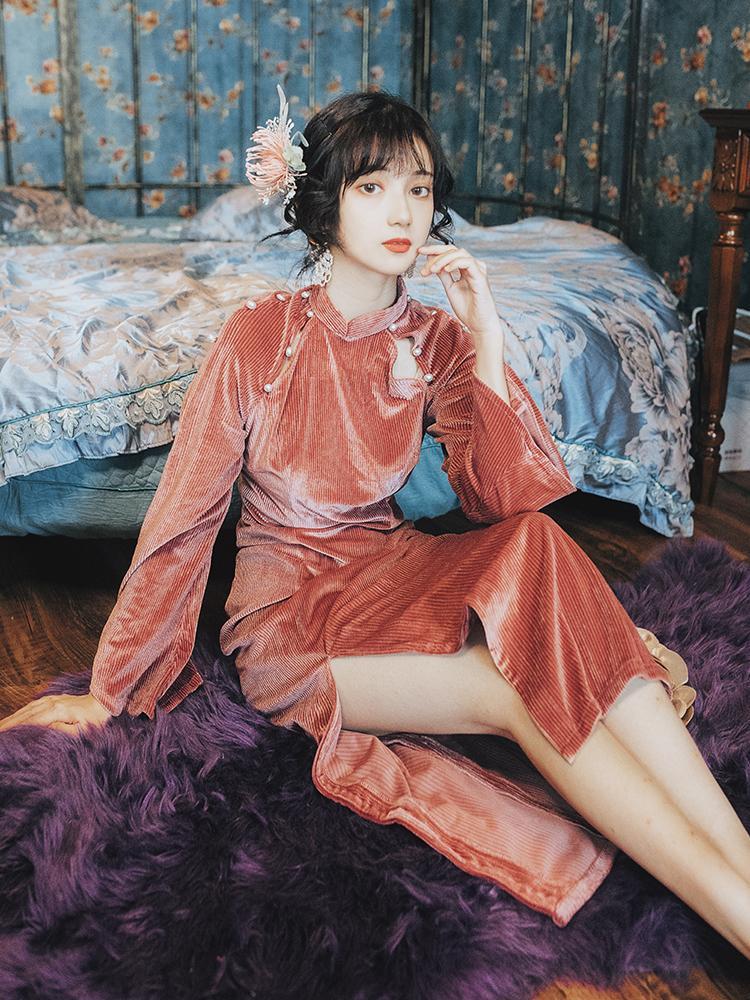 High Quality Series# Formal Dress Vintage Retro Cheongsam Slim Bodycon Velvet Sexy Split Party Prom Wedding Guest Elegant Women Dresses 8151