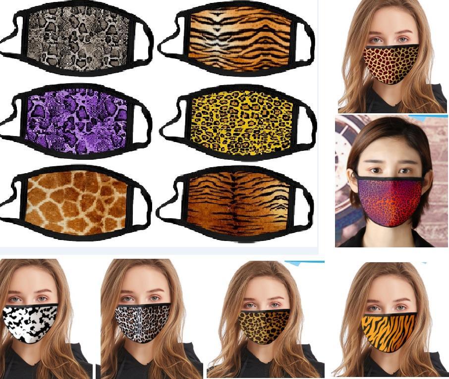 Washable Algodão Cara do leopardo revestimento de impressão animal Dustproof Boca Máscara Resuable Protetive Máscara 17 estilos Escolha HH9-3044