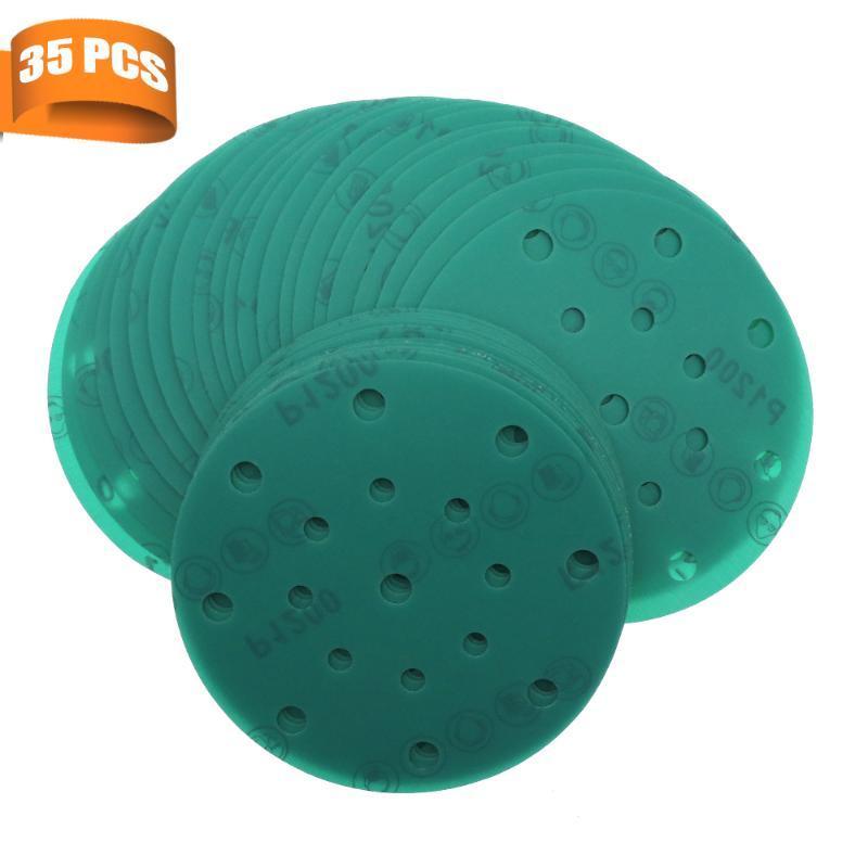 35pcs 6 pollici 150 mm 17 fori carta vetrata 60 a 2000 Grits gancio e anello verde Film disco abrasivo per la lucidatura e molatura