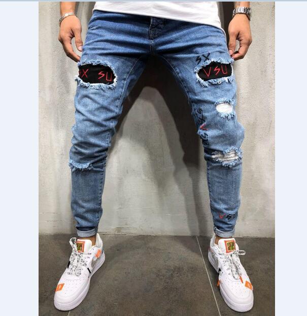 Джинсы с вышивкой узкие мужские брюки мужские повседневные джинсовые брюки классические облегающие брюки рваные брюки