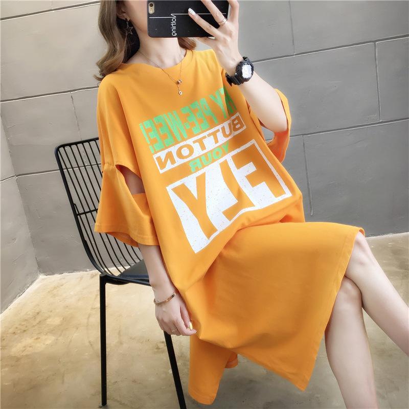 Soldi lunghi T Shirt manica corta 2020 di stampa del cotone sopra il ginocchio casa Clothing2020319