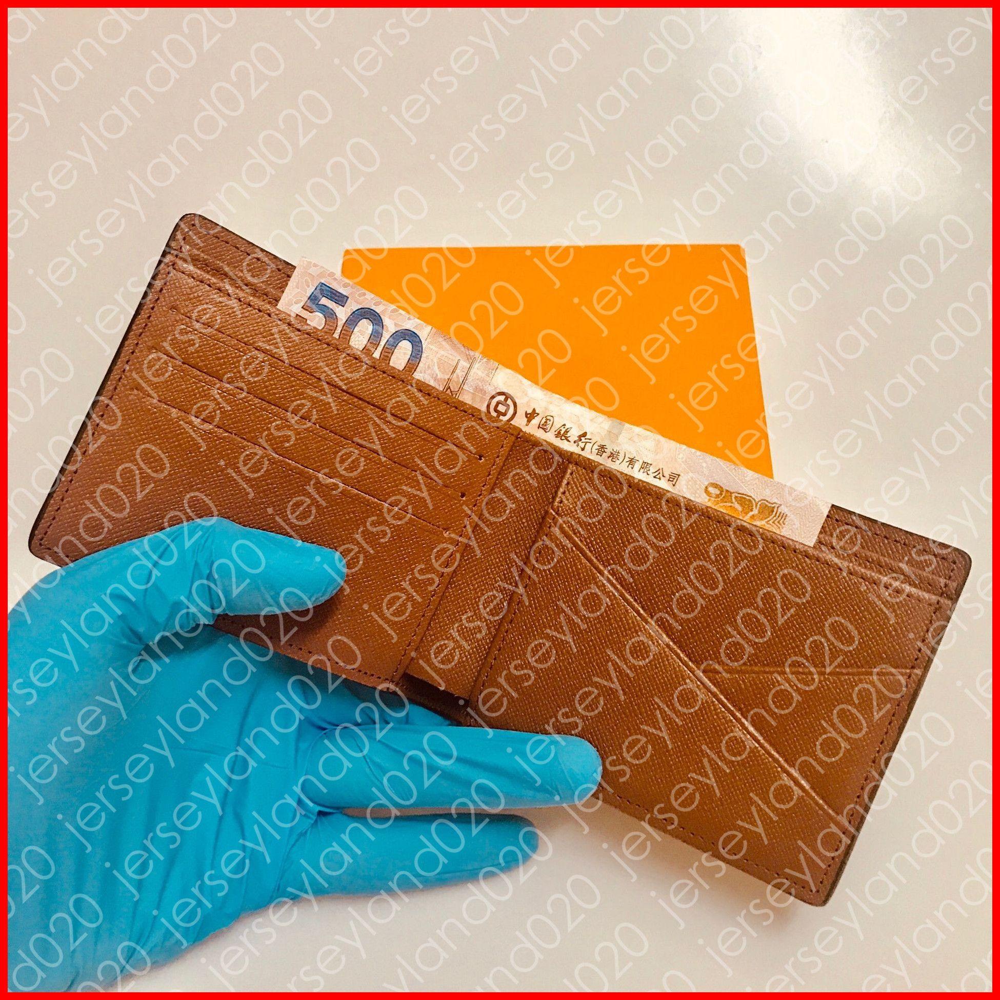 PORTAFOGLIO MULTIPLO M60895 Designer uomo Fashion Compact Short snello Portafoglio Luxury ID Card Holder Pocket Organizer Nero Damier Canvas N62663
