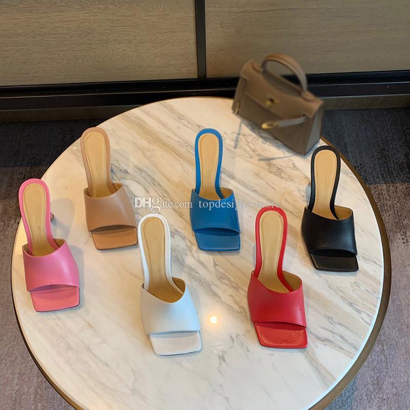 Femmes sandales design Bout carré Mules Sandales Femme STRETCH SANDALES mode design de luxe pantoufle sandales Partie slides concepteur talon