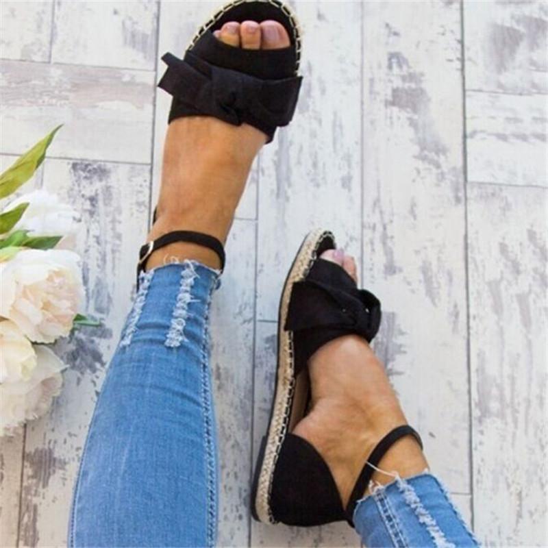 Sandales Plus Size 35-43 Flats Sandales pour des chaussures d'été Toe Femme Peep Chaussures Casual talons bas Sandalias Mujer Noir MX200407