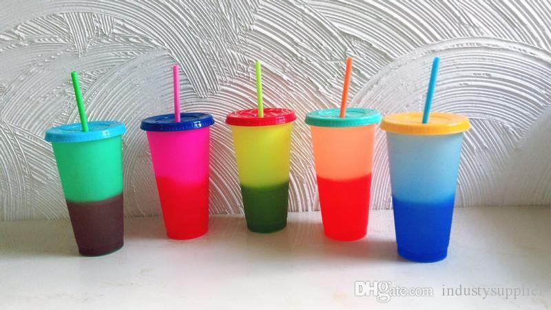 mandal 5 bardak / set soğuk ve sıcak renk değişimi su şişesi değişen DHL'in 24 oz renk froasted ile çeşitli çok renkli kupa kapak saman A07