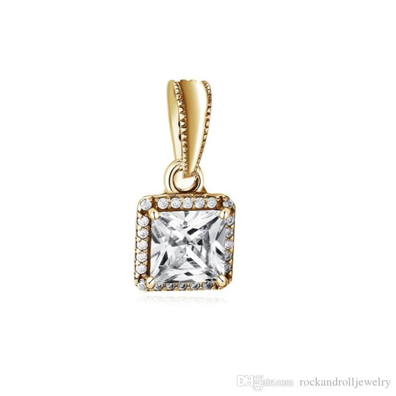 Gold überzogener quadratischer Legierungs-Charme für Pandora-Armband-Schlangenkette oder Halsketten-Modeschmuck-lose Perle