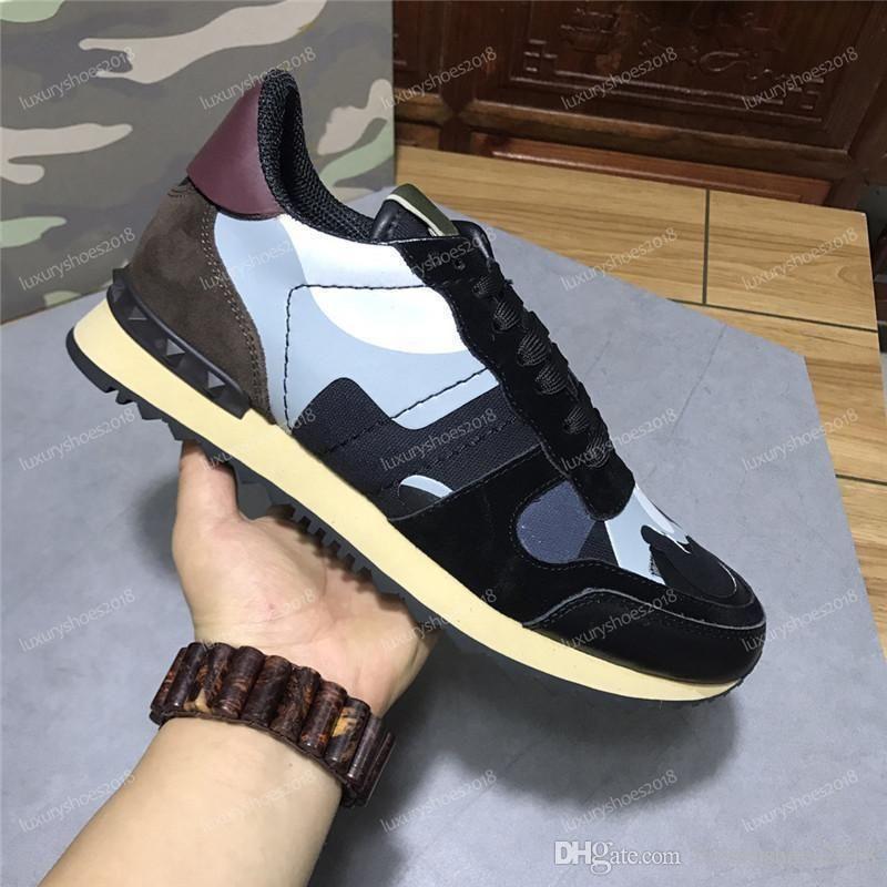 New Color Camo pelle scamosciata borchie camuffamento Roccia corridore della scarpa da tennis scarpe per le donne gli uomini della vite prigioniera di lusso casuale Designer Scarpe Sneakers