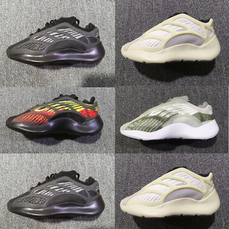 Infant Kanye West Azael brilham no escuro Crianças Running Shoes sapatilhas do desenhista Alvah Preto pequeno Boy Girl Trainers Big Crianças