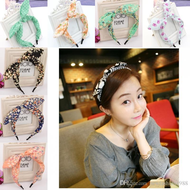 23 Styles Bogen-Stirnbänder für Damenschmuck Bowknot Hariband für Frauen netten Kaninchen-Ohr-Haar-Band-Adjustable Geschenk für Kinder Haarschmuck