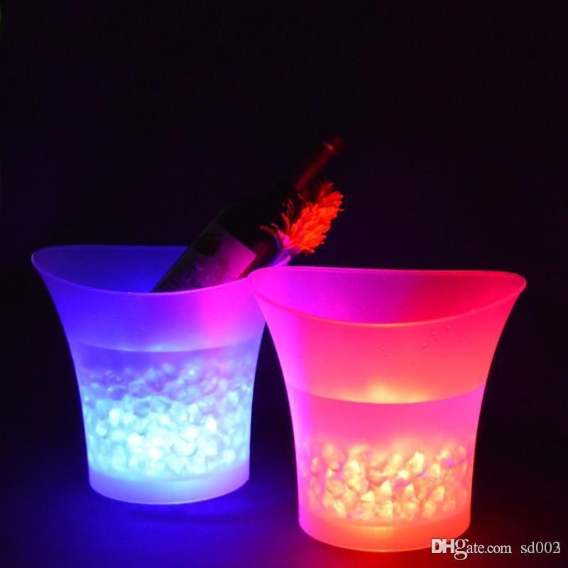 LED ضوء دلاء الثلج تغيير لون 5L جولة البلاستيك للماء البيرة دلو الأزياء بار حزب ليلة مضيئة تبريد Decororations 45kf ZZ