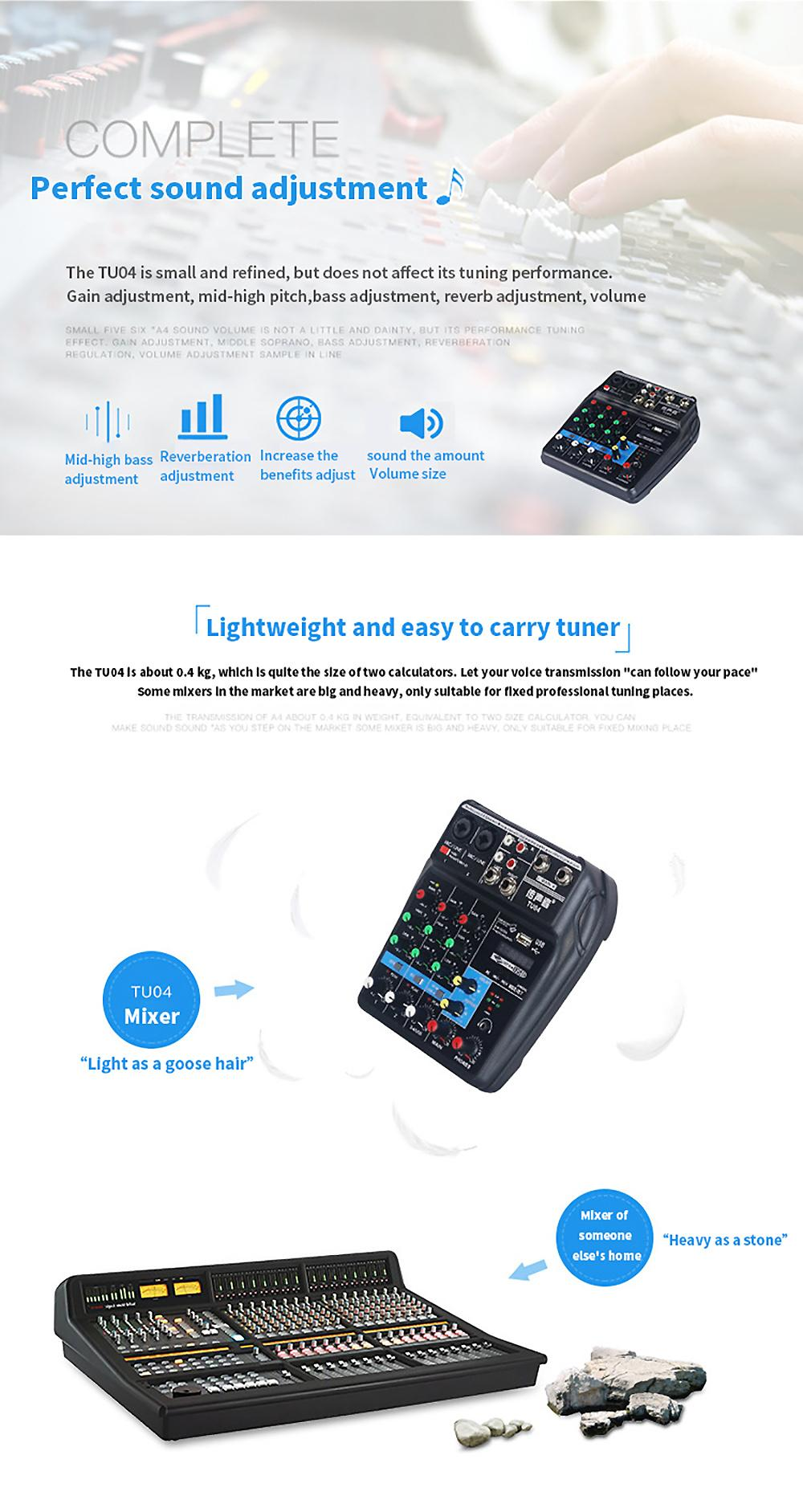 2019 FELYBY TU04 Mixer With Bluetooth USB And Sound Card