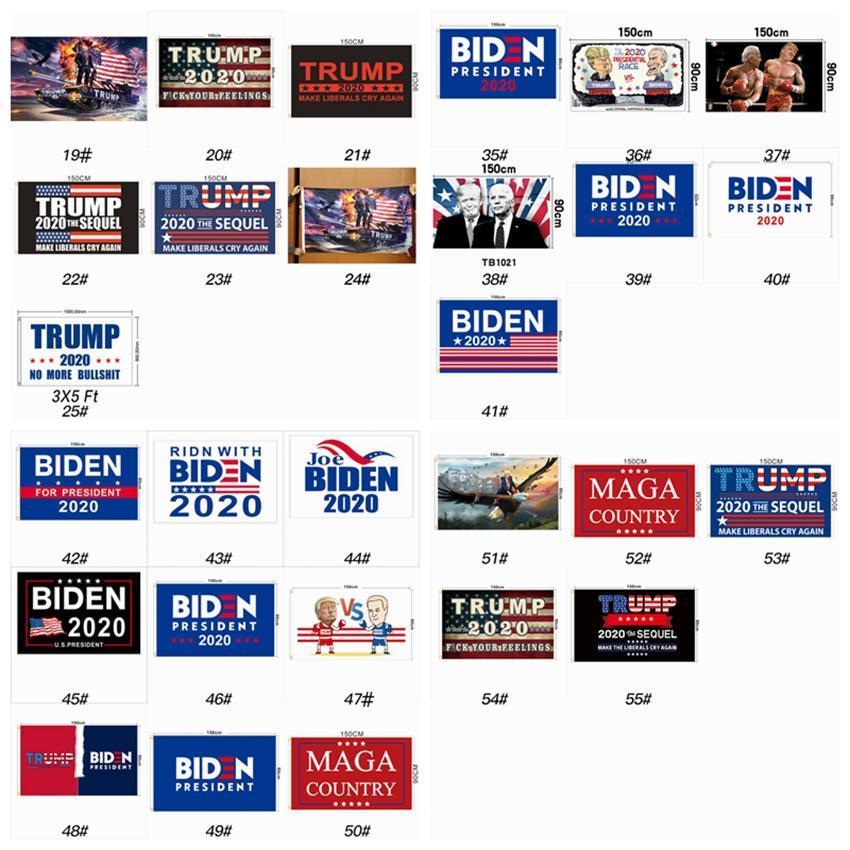 55 أنماط دونالد ترامب العلم 90 * 150CM جو بايدن العلم انتخابات 2020 الرئيس الأمريكي إبقاء أمريكا حزب العظمى راية العلم ZZA2312 30PCS