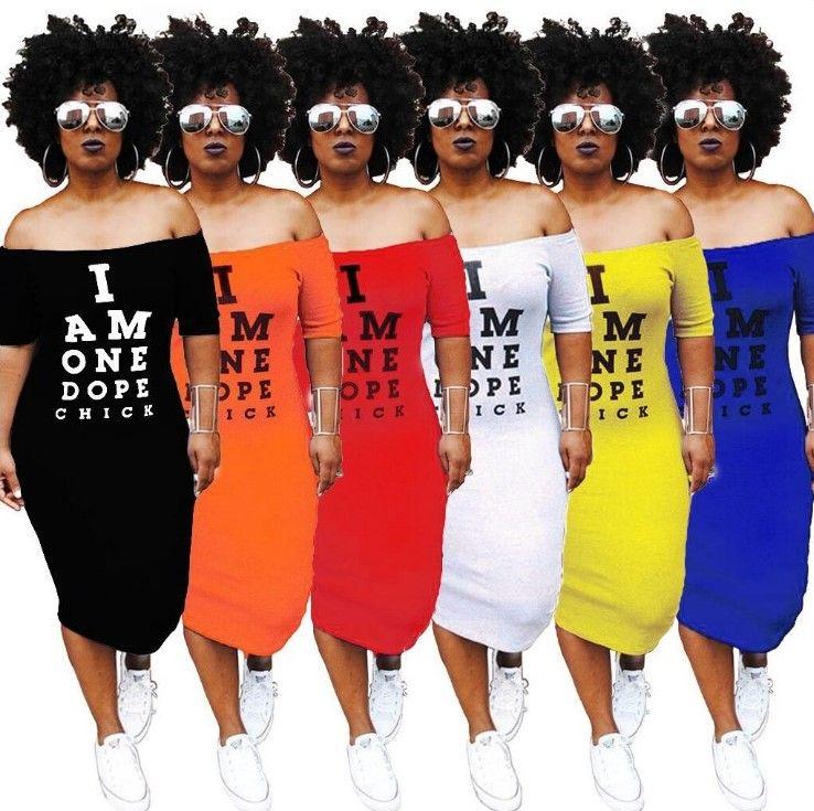 Artı omuz tasarımcı kapalı boyutu elbiseler uzun kısa kollu kadın seksi Bar parti kulüp sarma elbise baskı mektubu Casual Giyim S-3XL etek