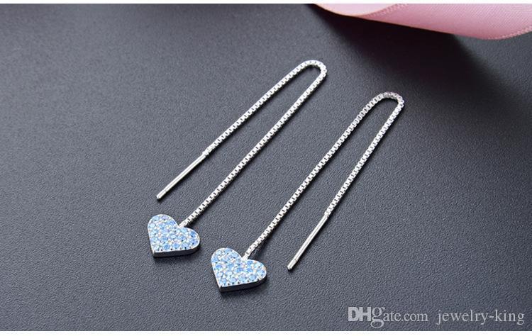 Sevgililer Günü hediyeleri en kaliteli kadın S925 gümüş küpe gümüş dangle küpe kulak ipler düz gümüş küpe DD