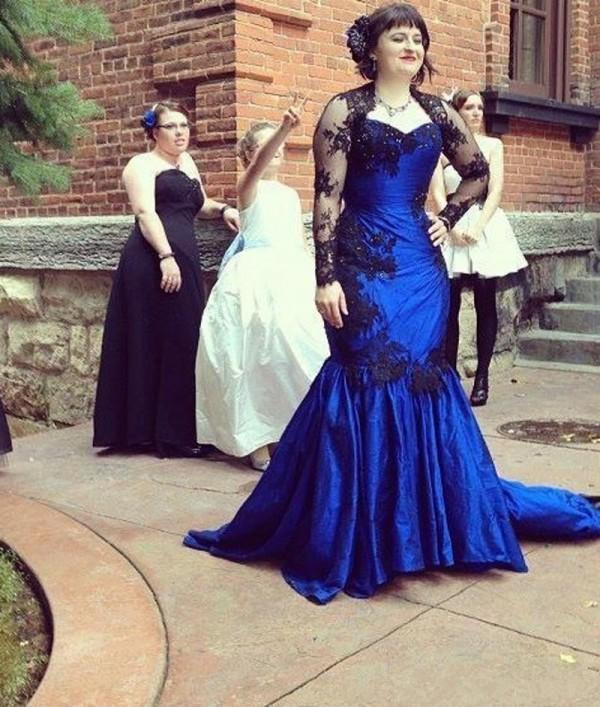 Королевский синий плюс размер Русалка вечерние платья с черным кружевом аппликация с длинными рукавами вечерние платья выпускного вечера