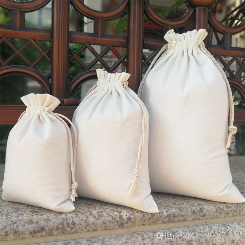 Spot sales can be customized cotton fine canvas drawstring bag storage bag original 12*10cm