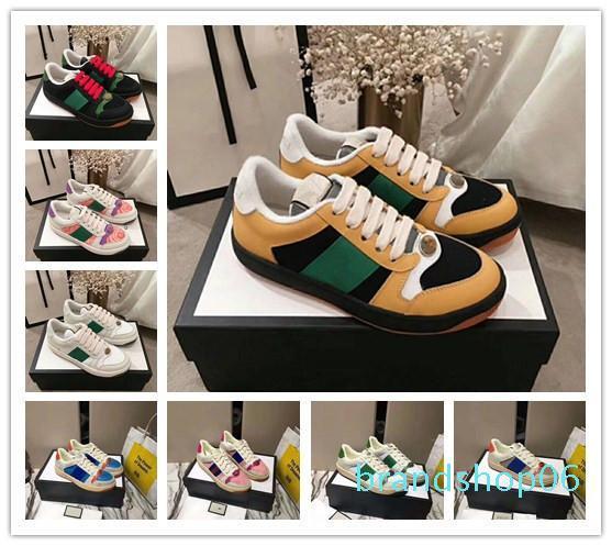 mayor del diseñador barato zapatos del patín de los hombres de cuero Screener zapatilla de deporte verde suela de goma con cordones de los zapatos ocasionales de la zapatilla de deporte diseñador Tamaño 35-44 3er