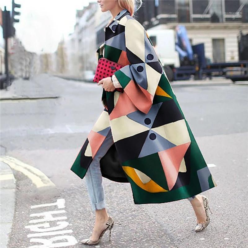Женщины кардиган ветровка осень повседневная геометрическая шея овора свободная верхняя одежда зима женское цифровое теплое пальто