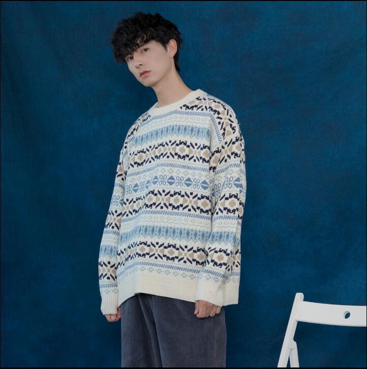Хорошее качество! осень и зима мужская ветер цветок полосатый вязать свитер О-образным вырезом пуловеры свитер корейской молодежи мужчины пальто tb3819
